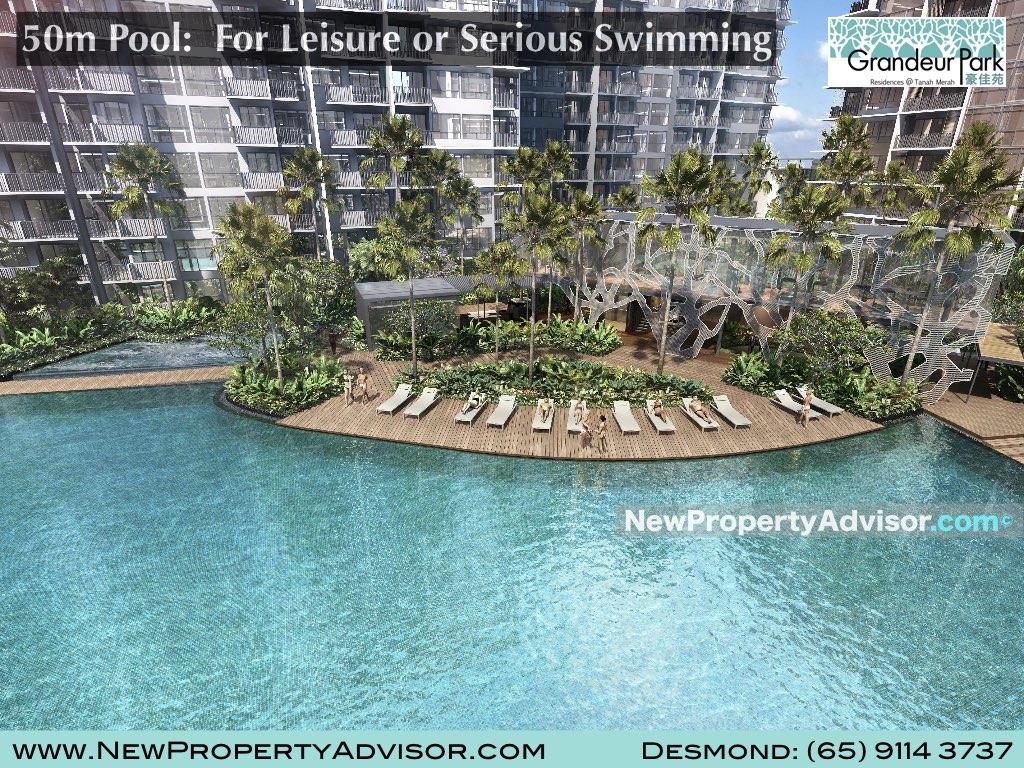 large pool at grandeur park residences singapore