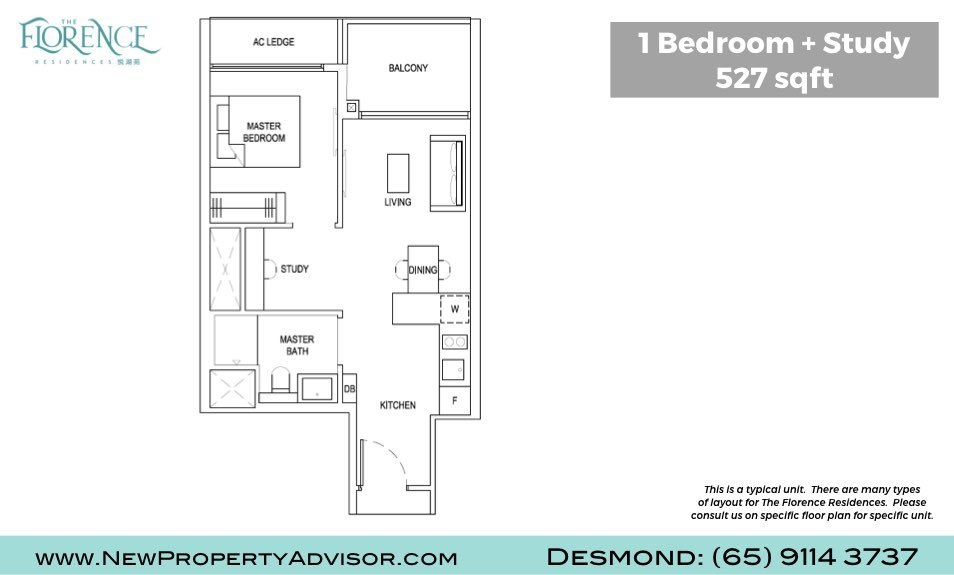Florence Residences Singapore Floor Plan One Bedroom and Study