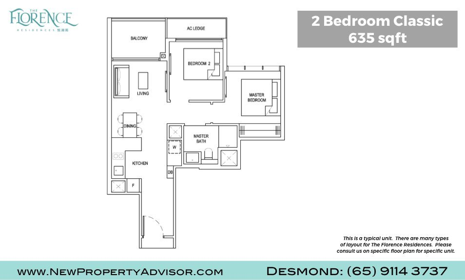 Florence Residences Singapore Floor Plan Two Bedroom Classic