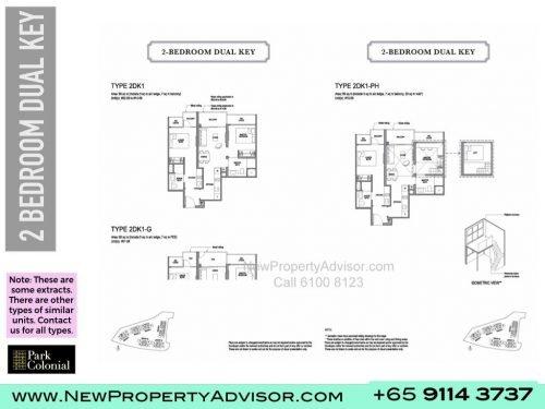 Park Colonial Floor Plan 2 bedroom dual key