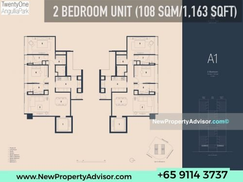 TwentyOne Angullia Park 2 bedroom floor plan