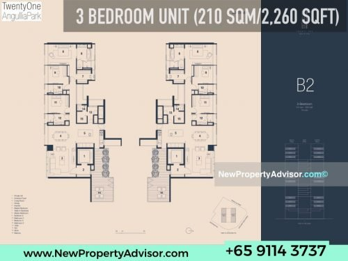 TwentyOne Angullia Park 3 bedroom floor plan B2