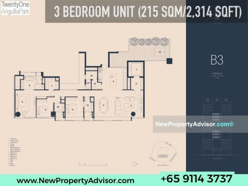 TwentyOne Angullia Park 3 bedroom floor plan B3