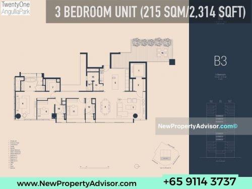 TwentyOne Angullia Park 3 bedroom floor plan B3