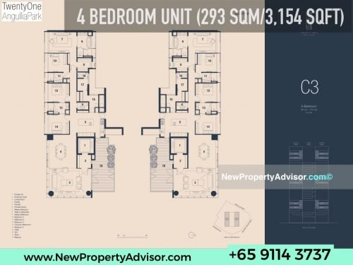 TwentyOne Angullia Park 4 bedroom floor plan C3